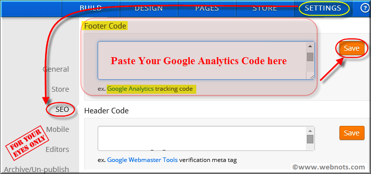 Install Analytics Code in Weebly Site