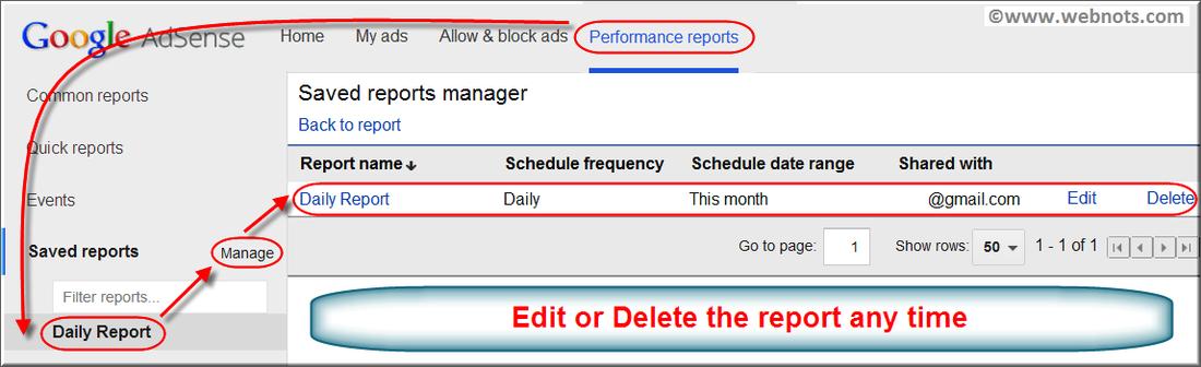 Modifying Saved AdSense Reports