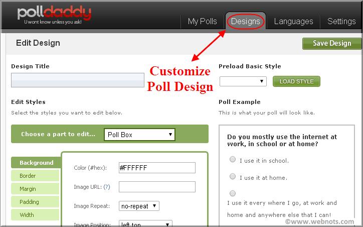 Weebly Poll Design Customization