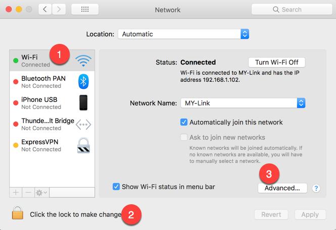 Enable Edit Option in Mac Network Settings