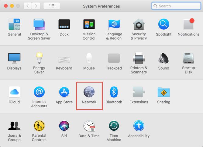 Open Network Settings in macOS