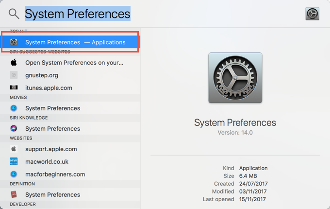 Open System Preference in Macbook