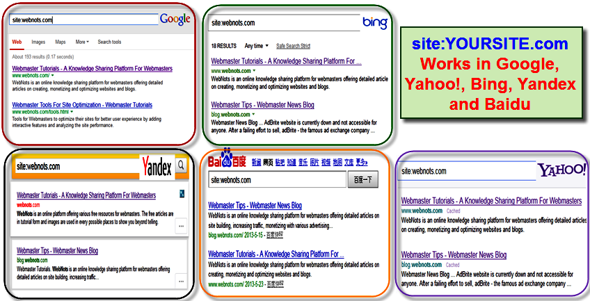 Site Operator works in all major search engines