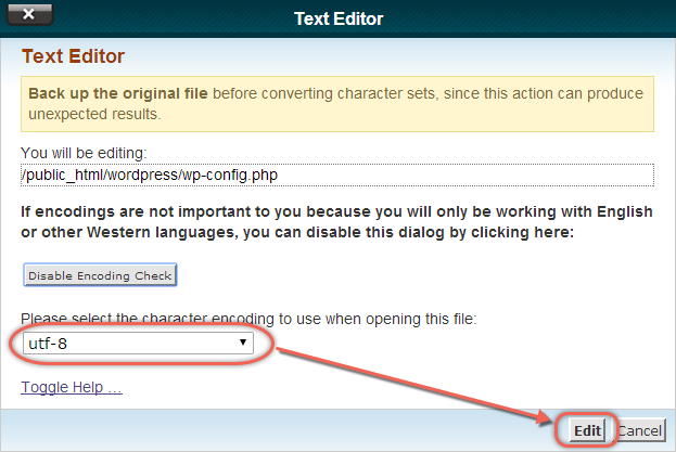 Choose Encoding for Text Editor
