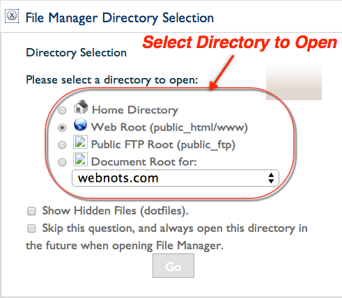 Choosing Directory to Open in Bluehost File Manager