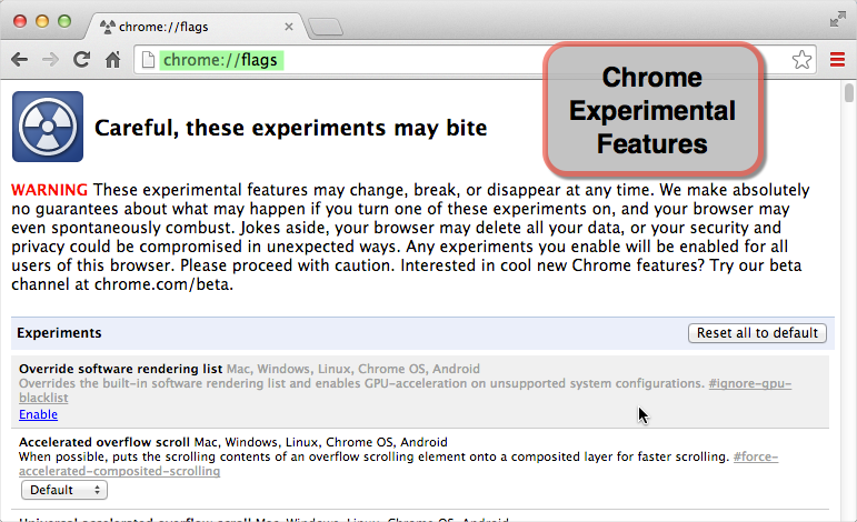 Chrome Experimental Features