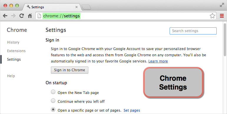 Chrome Settings URL Command