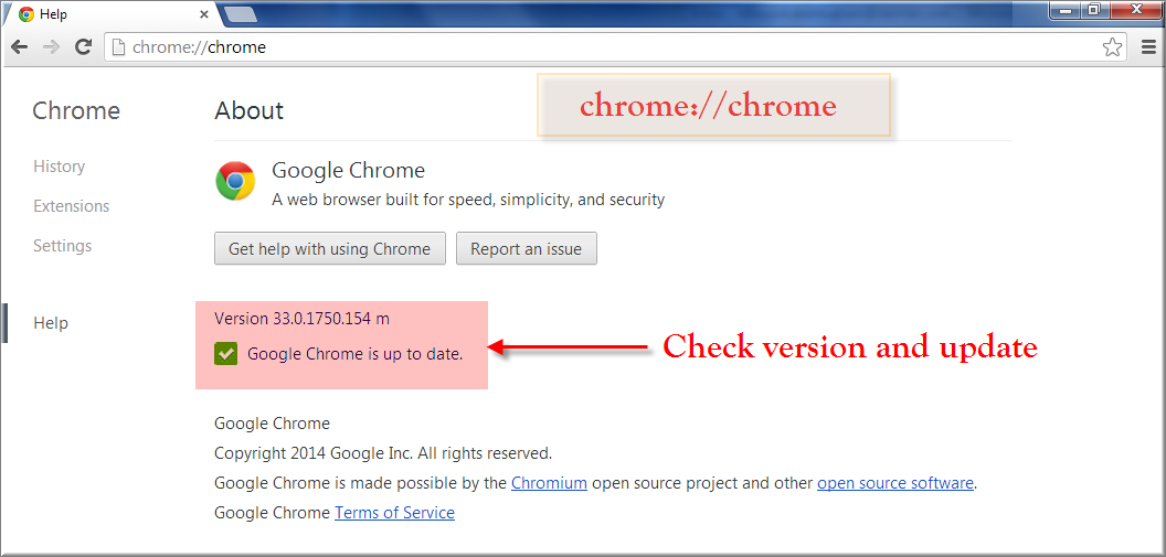 Chrome Version and Update Check Command