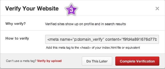 Скопируйте код подтверждения в Pinterest