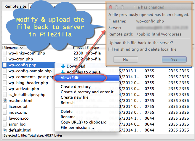 Edit wp-config Using FileZilla