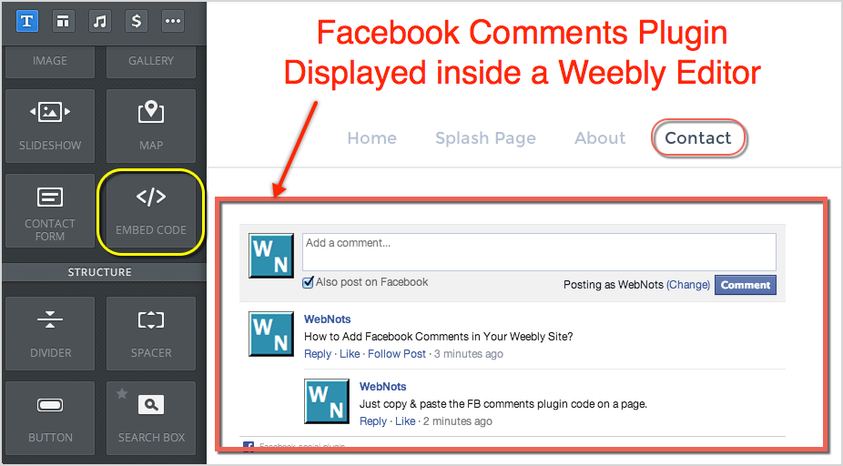 Facebook Comments Plugin Displayed Inside Weebly Editor