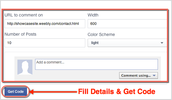 Facebook Comments Plugin Form