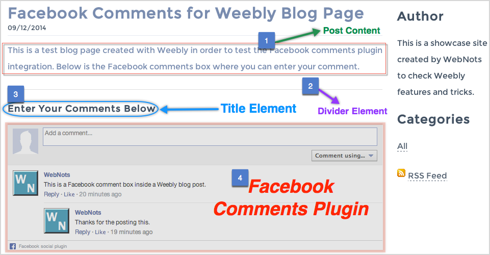 Facebook Comments on Weebly Blog Page
