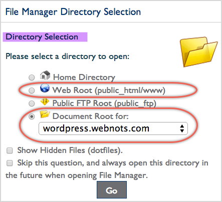 File Manager Directory Selection in Bluehost
