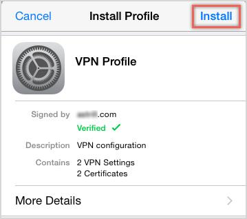 Installing VPN Profile