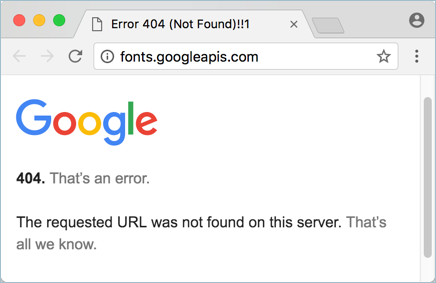 Not Found Error from Google Fonts Server