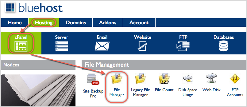 Open File Manager in Bluehost