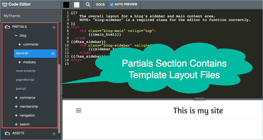 Partials Section in Weebly Code Editor