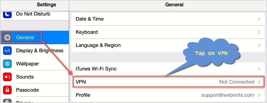 VPN Settings in iOS