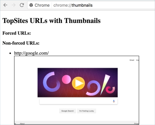 View Site Thumbnails in Google Chrome