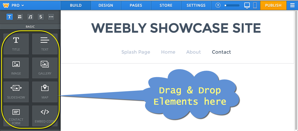 Weebly Editor Interface