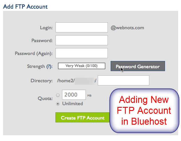 Добавить учетную запись FTP в Bluehost