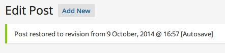 WordPress Autosave Restored Message