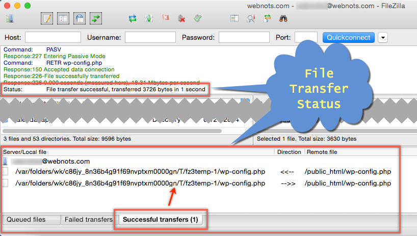 Check File Transfer Status in FileZilla