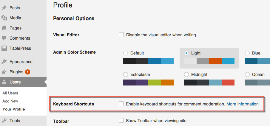 Enable WordPress Keyboard Shortcuts for Comments