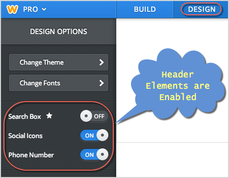 Enabled Header Elements in Weebly Design Tab