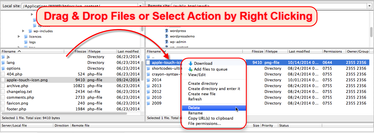 FileZilla File Transfer and Edit Options