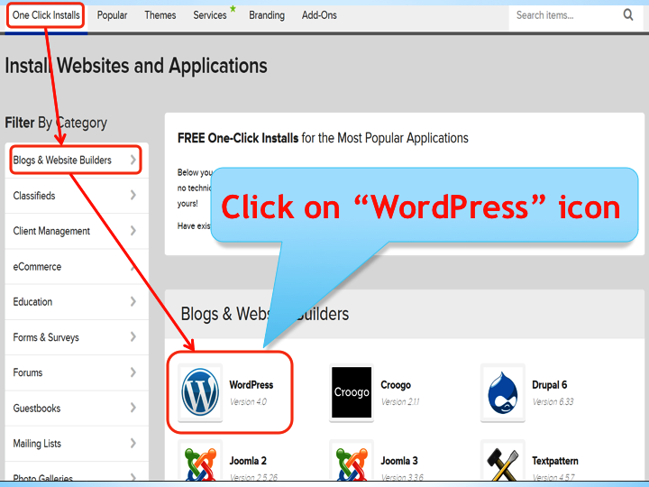 Installing WordPress from Bluehost One-Click Installs