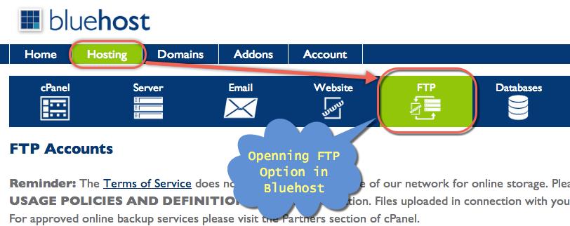 Откройте FTP в Bluehost