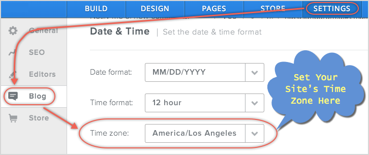 Set Time Zone in Weebly