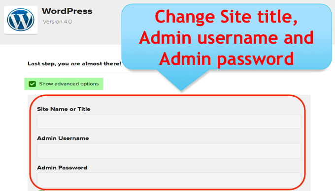 Setting Login Name and Password for WordPress