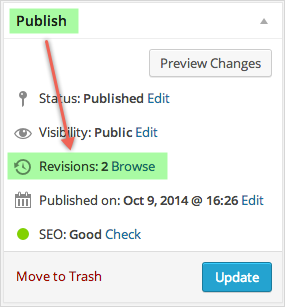 View WordPress Revisions under Publish