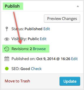 Просмотреть версии WordPress в разделе