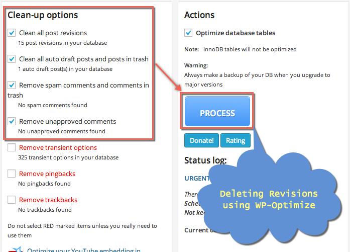 WP-Optimize Delete Revisions