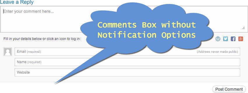 Поле для комментариев WordPress без параметров уведомления