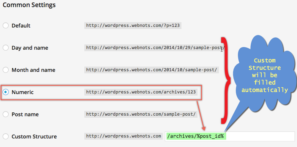 WordPress Custom Structure Permalink