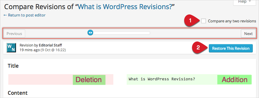 WordPress Revisions Options