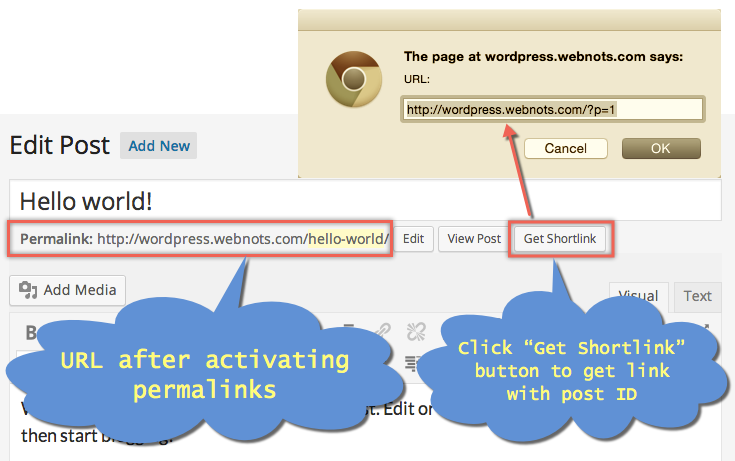 WordPress URL structure after activating permalinks