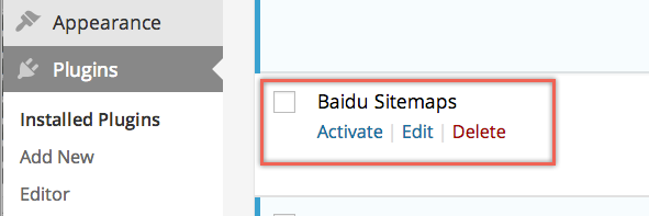 Activate Baidu Sitemaps Plugin