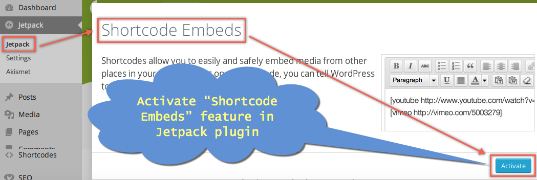 Activate Shortcode Embed in Jetpack