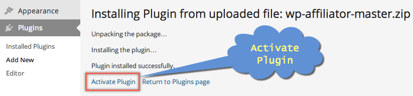 Activating Bluehost Affiliator Plugin in WordPress
