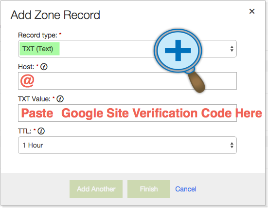 Add DNS Text Record for Google Verification
