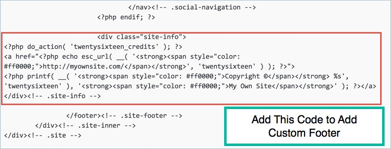 Adding Custom Footer in Twenty Sixteen Theme