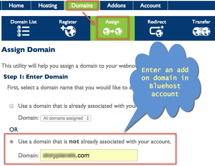 Назначение дополнительного домена в Bluehost