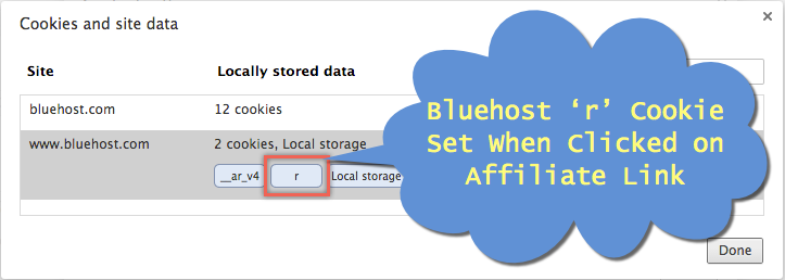Bluehost Affiliate Cookie in Browser