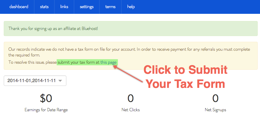 Bluehost Affiliate Tax Form Submission Link